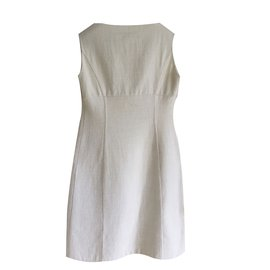 Céline-Sleeveles ecru wool and cotton double faced dress-Cream