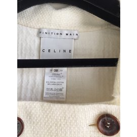 Céline-Short jacket double faced wool-Cream