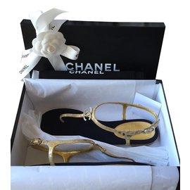 Chanel-Sandale Doré Cristaux Swarovski T39-Doré