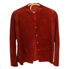 Hermès-Veste Hermès modèle casaque, veau pleine fleur, très confortable car cuir souple-Rouge