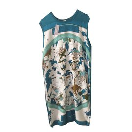 Hermès-Sleeveless dress with zodiac silk carre appucation on the front-Multiple colors