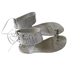 Chanel-Sandals-Silvery