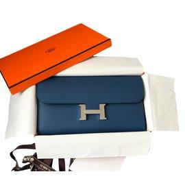 Hermès-Portefeuille Constance en cuir-Bleu