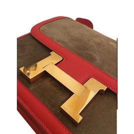 Hermès-Hermes Constance 24cm Suede Leather Bag with Rose Gold hardware-Red,Golden,Chestnut