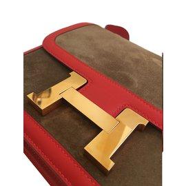 Hermès-Hermes Constance 24cm Suede Leather Bag with Rose Gold hardware-Red,Golden,Chestnut
