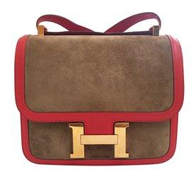 Hermès-Constance Bicolore-Rouge,Doré,Chataigne