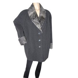 Yves Saint Laurent-Manteau-Gris anthracite