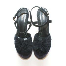 Fendi-Espadrille compensé-Noir