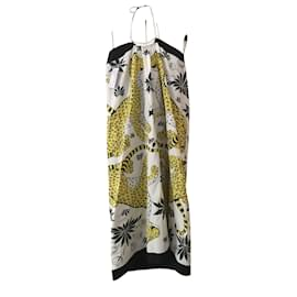 Hermès-Robe de plage détail bijou Les léopards 90cm x90cm sur coton-Multiple colors