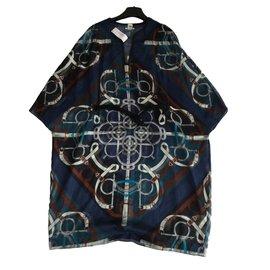Hermès-Robe col en U ceinturée Éperon d'or Blue cordiérite-Multicolore