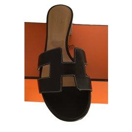 Hermès-Oasis Mule Moka leather 38,5-Dark brown