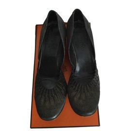 Hermès-Ballerinas with easy 4,5 Pam wedge heel-Dark brown