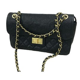Chanel-Caviar leather flap bag-Black
