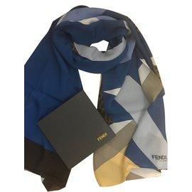 Fendi-étole soie FENDI-Bleu