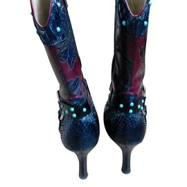Luciano Padovan-Ankle Boots-Python print