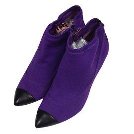 Chanel-boots bi-matière Chanel-Violet