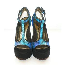 Lanvin-Mules compensées-Bleu