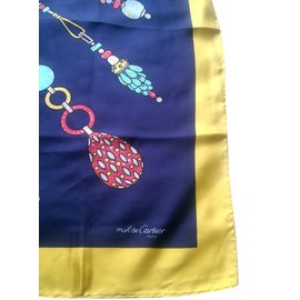 Cartier-Silk scarf-Multiple colors,Yellow,Navy blue