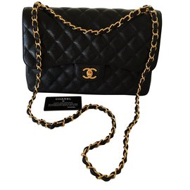 Chanel-CHANEL Timeless classic double flap JUMBO caviar-Black