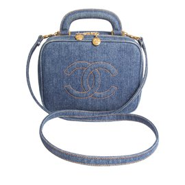 Chanel-Chanel Vanity Bag Denim Vintage - blue-Bleu