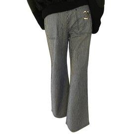 Chanel-Pantalon-Blanc,Bleu