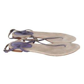 Chanel-Chanel Bluish purple flat sandals-Blue,Purple