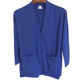 Hermès-Cardigan long-Bleu