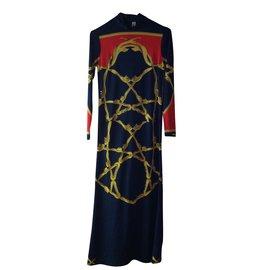 Hermès-Hermès robe droite-Rouge,Jaune,Bleu Marine