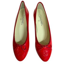 Chanel-Chanel patent leather Ballerinas-Red