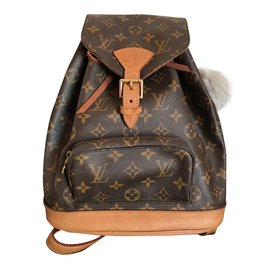 Louis Vuitton-Sacs à dos Montsouris MM Canvas Monogram-Marron,Doré