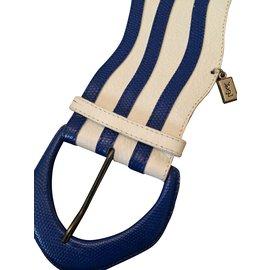 Yves Saint Laurent-Ceinture-Blanc,Bleu
