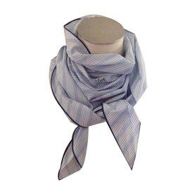 Hermès-Grand triangle coton-Bleu