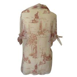 Hermès-Chemisier en soie-Blanc