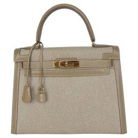Hermès-Hermès Sacà main Kelly Sellier 28 cm en Toile et Cuir-Beige ... 4ba14f04d1b