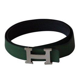 Hermès-Superbe ceinture boucle H métal argent palladié signé Hermès-Vert ... 1ac0dc13a72