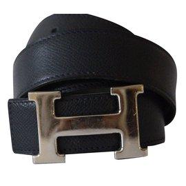 Hermès-Superbe ceinture boucle H métal argent palladié signé Hermès-Vert
