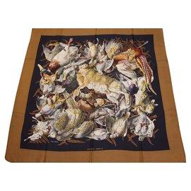 79e03ccd8e0d Hermès-Hermès carré twill de soie Gibiers-Marron,Noir ...