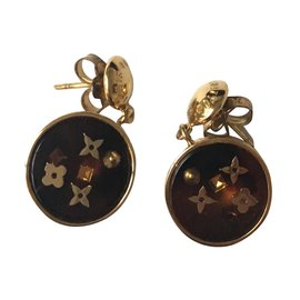 Louis Vuitton-Boucles d'oreilles Inclusion-Marron,Doré