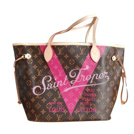 Louis Vuitton-Sac Neverfull MM Louis Vuitton Série spéciale St Tropez (boutique de St Tropez)-marron clair
