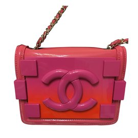 Chanel-Plexiglass and Patent Leather Boy Brick Flap Bag-Pink