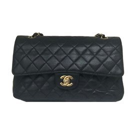 Chanel-Superbe Chanel Timeless Medium en cuir caviar noir !-Noir