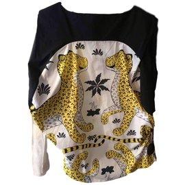 Hermès-Top drape sans manches inprime leopard-Multiple colors