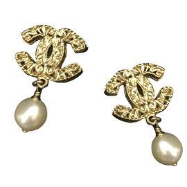 Chanel-Chanel double C avec perle nacrée-Doré