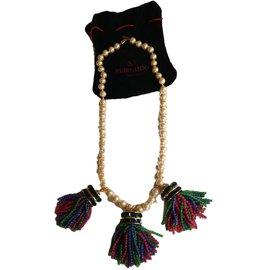 Autre Marque-Très joli sautoir en perles multicolores-Blanc