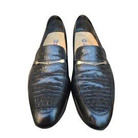 A. Testoni-Loafers Slip ons-Black