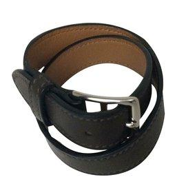 Hermès-Superbe Bracelet Hermès en cuir swift moka !-ébène