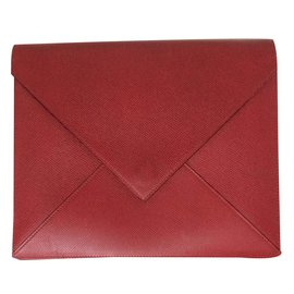 Hermès-Pochette envelope 24 cm in courchevel garance leather-Red,Green