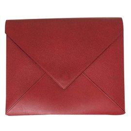 Hermès-Superbe Pochette enveloppe Hermès en cuir bicolore !-Rouge,Vert