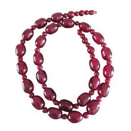 Vintage-Collier vintage en bakélite rouge cerise-Bordeaux