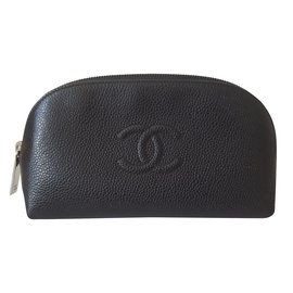 Chanel-Trousse timeless Chanel en cuir caviar-Noir